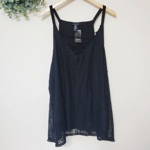 Torrid Black Lacey Tank Top Size 5X NWT